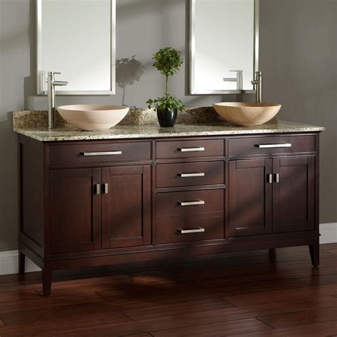 "72"" Madison Double Vessel Sink Vanity  Light Espresso"