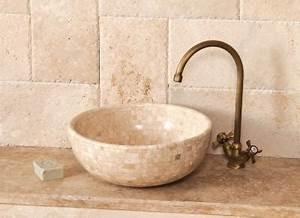 Vasque En Pierre Pas Cher : natura vasque poser 40 x 40 cm ~ Edinachiropracticcenter.com Idées de Décoration