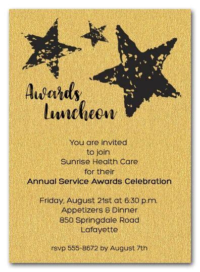 stars  gold sparkle business awards invitations