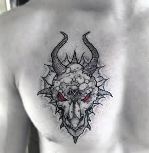 Fire-Breathing Dragon Tattoos for Men Chest