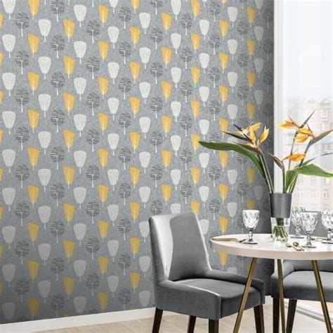retro tree ochre wallpaper