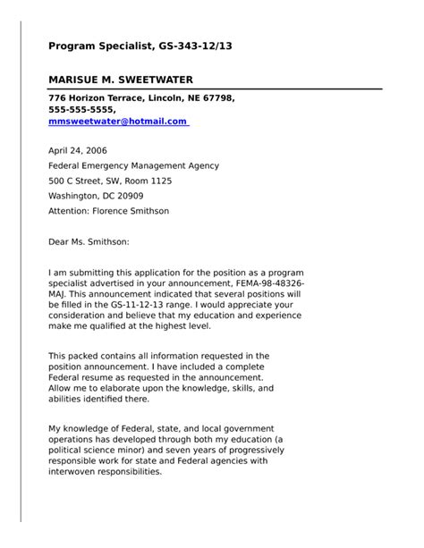 program specialist  federal government cover letter