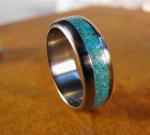 titanium ring turquoise ring wedding ring mens ring womens With mens silver and turquoise wedding rings