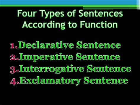 types of sentence according to function