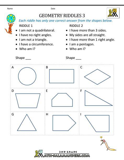 geometry worksheets  grade geometry riddles