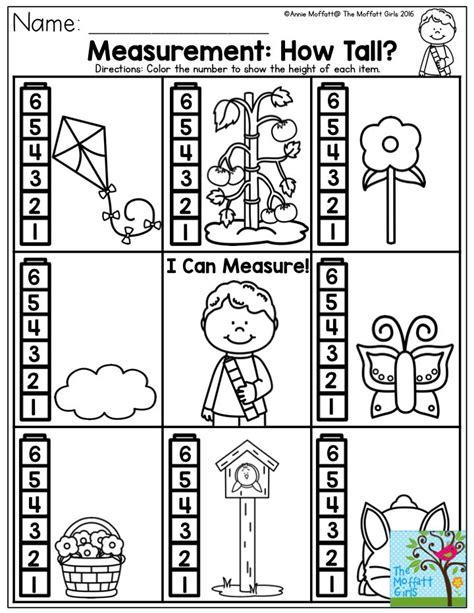 measuring height worksheets kindergarten measuring