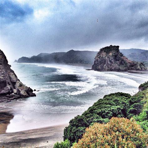 Lion Rock Piha Piha New Zealand View From Tasman