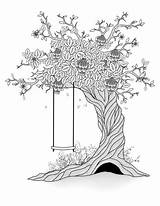 Tree Coloring Swing Spring Drawing Thaw Depositphotos Pagina Albero sketch template