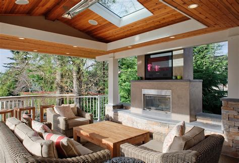 outdoor fireplace  tv porch contemporary  ceiling