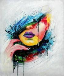 siege auto graco tableau peinture sur toile visage femme pop moderne