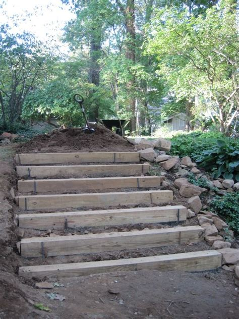 steps for landscaping a yard how to make hillside railroad tie landscape stairs railroad tie steps 171 afterhood yard ideas