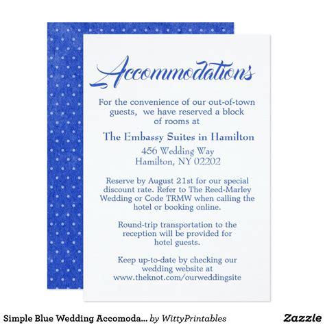 simple blue wedding accomodations script enclosure card