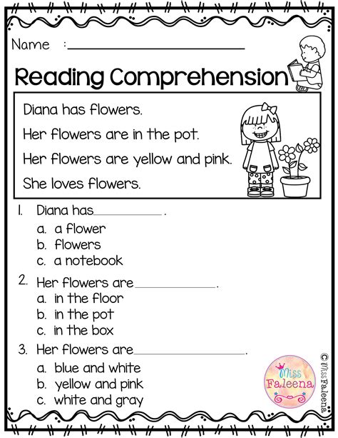 kindergarten worksheets reading comprehension