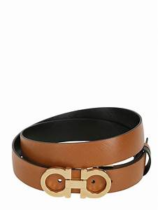 Ferragamo 25mm Saffiano Leather Reversible Belt In Tan