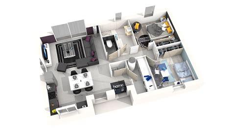 plan de chambre 3d maison astriée 2 ch