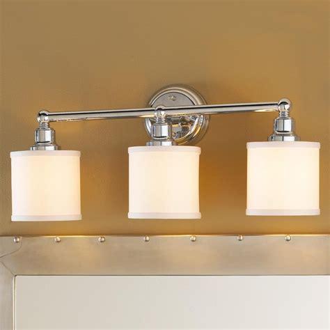 Bathroom Lamp Shade 3 light linen drum shade bath light bronze or chrome