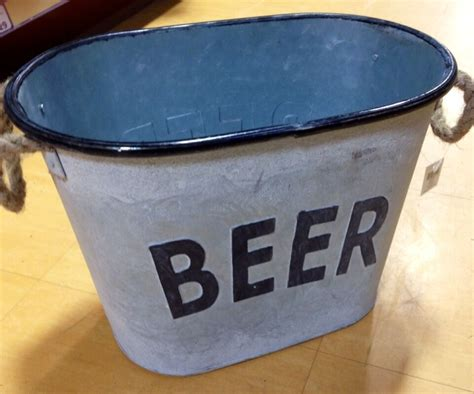 Grey Rustic Shabby Chic Vintage Metal Beer Bucket Drinks