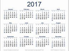 2017 Calendar monthly calendar template