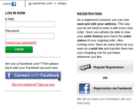 facebook registration form how kickz uses facebook for a better customer experience