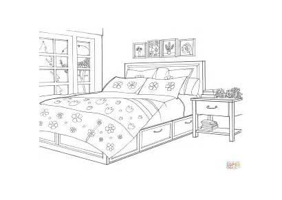 Coloring Bedroom Dormitorio Colorear Dibujo Printable Imagenes