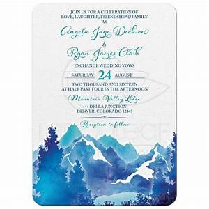 mountain wedding invitation watercolor royal blue With royal blue and turquoise wedding invitations