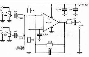 Electronica Diagramas Circuitos  Circuito Mezclador De Audio