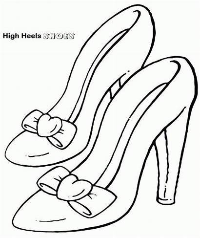 Coloring Shoes Shoe Heels Pages Heel Drawing