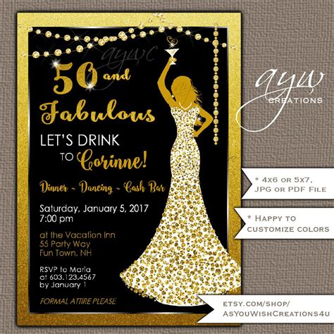 50th Birthday Party Invitation for a Woman Cocktail