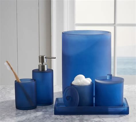 blue glass bathroom accessories serra mix and match bath accessories navy blue pottery