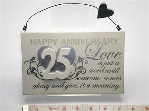 25th Silver Wedding Anniversary Plaque Sign Great Gift