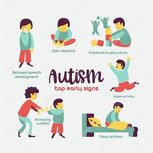Autism Early Signs Autism Syndrome Children Vector Illustration Children Autism  U2014 Stock Vector