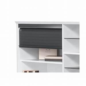 Bureau Blanc Avec Rangement : bureau contemporain avec rangement blanc gris brillant souade ~ Teatrodelosmanantiales.com Idées de Décoration