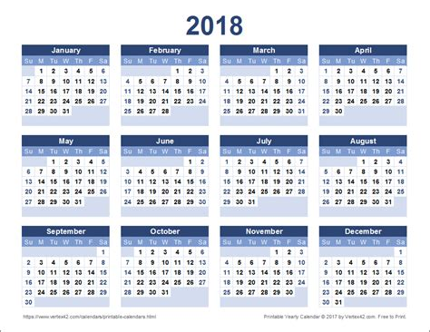 2018 Yearly Calendar Template 2018 Calendar Calendar Template Excel