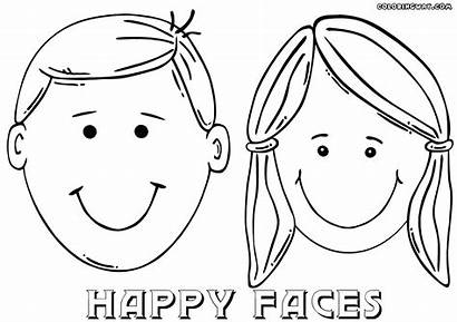 Coloring Face Boy Pages Smiley Template Drawing