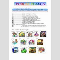 English Worksheets Public Places