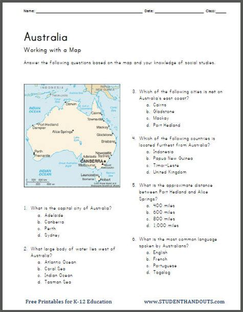 australia s geography map worksheet student handouts