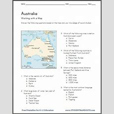 Australia's Geography  Map Worksheet  Student Handouts