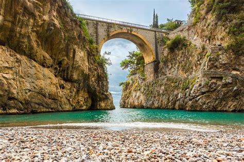 amazingly beautiful beach   bridge stock image