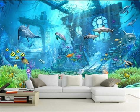 avikalp underwater world ocean dolphin background wall