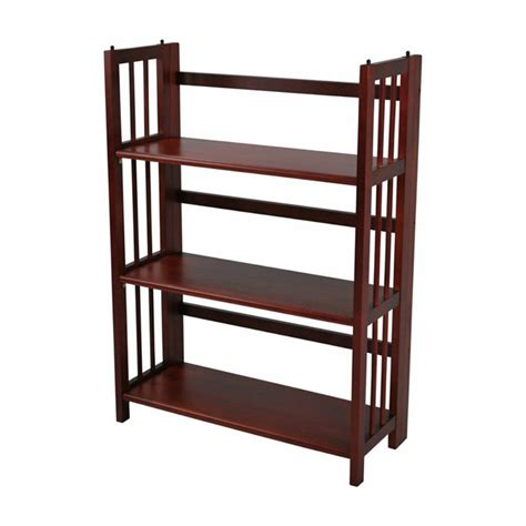 Folding Wood Bookcase by 3 Tier Stackable Folding Bookcase Mahogany Ebay