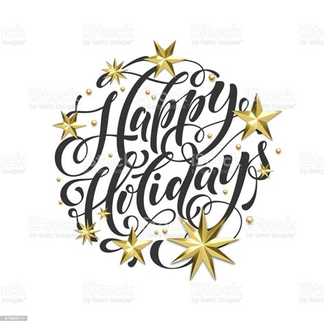 Happy Holidays Golden Decoration Hand Drawn Calligraphy