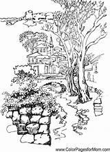 Coloring Landscape Pages Nature Garden Flower sketch template