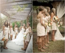 rustic wedding with bridesmaids in cowboy boots rustic wedding chic - Bridesmaid Dresses With Boots