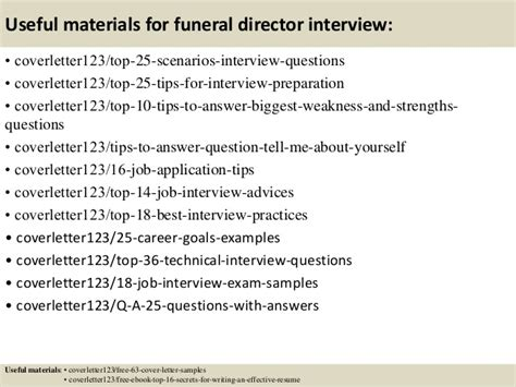 Weaknesses Cover Letter by Top 5 Funeral Director Cover Letter Sles