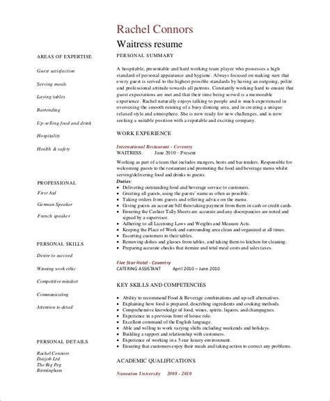 Waitress Resume by 6 Sle Waitress Resumes Pdf Word