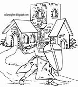 Coloring Drawing Medieval Church Printable Knight Ages Dark Landscape King Castle Arthur Camelot Building Outline British Draw Court Lady Use sketch template