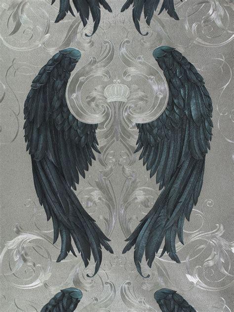 vliestapete gloeoeckler engelsfluegel silber blau metallic
