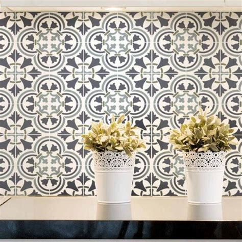tile stenciled backsplash grey spanish tiles