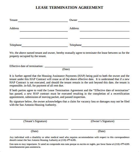 sample lease termination agreement templates