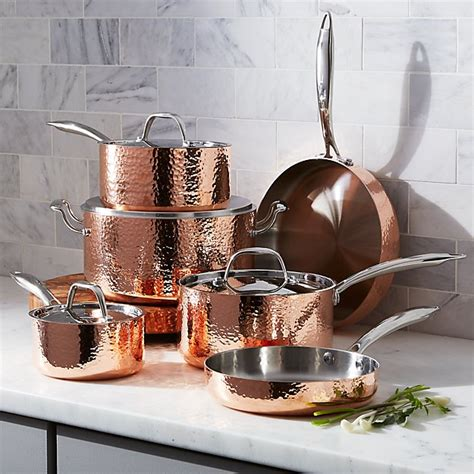 fleischer  wolf seville hammered copper  piece cookware set crate  barrel